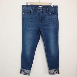 LOFT | Embroidered Cuff Modern Skinny Jeans
